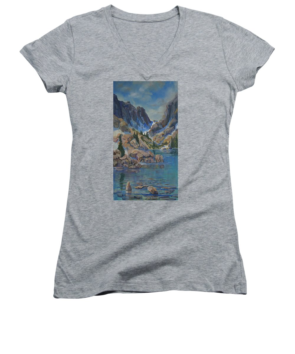 Hayden Spires Women's V-Neck (Athletic Fit) featuring the painting Near Hayden Spires by Heather Coen