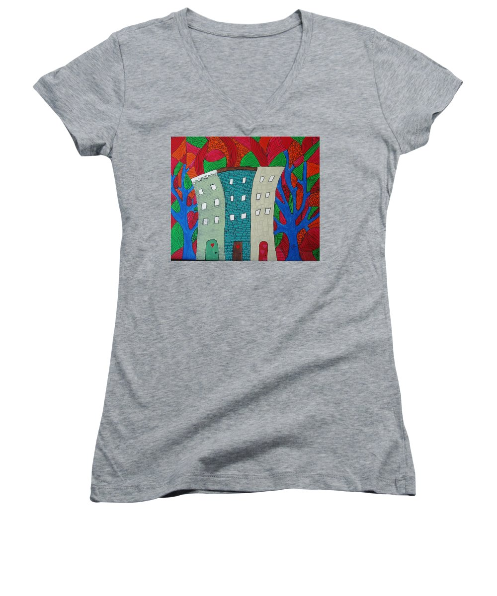 Houses Women's V-Neck T-Shirt featuring the painting Neighbors by Wayne Potrafka