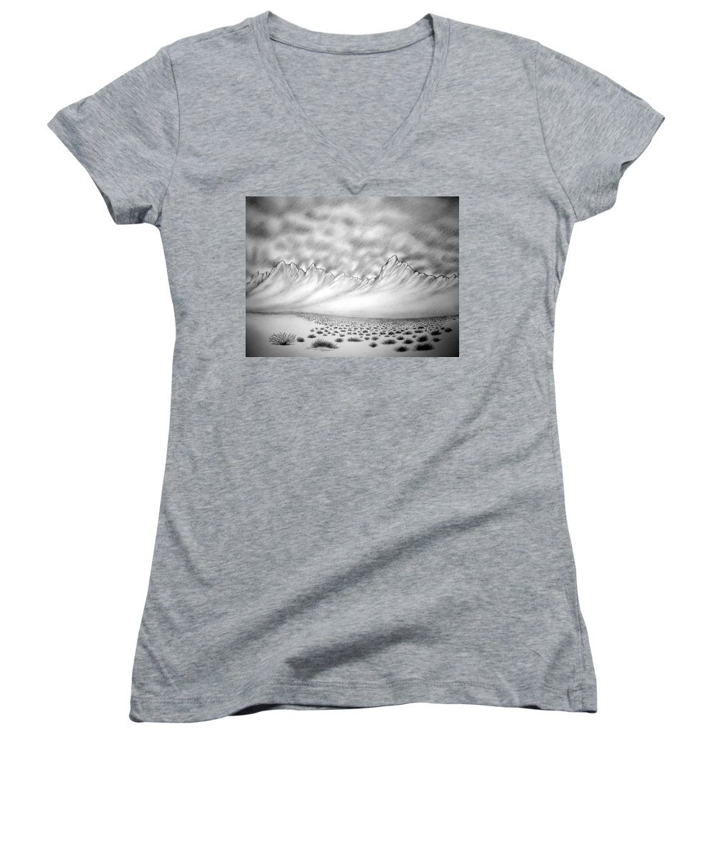 Women's V-Neck (Athletic Fit) featuring the drawing New Mexico Passage by Marco Morales