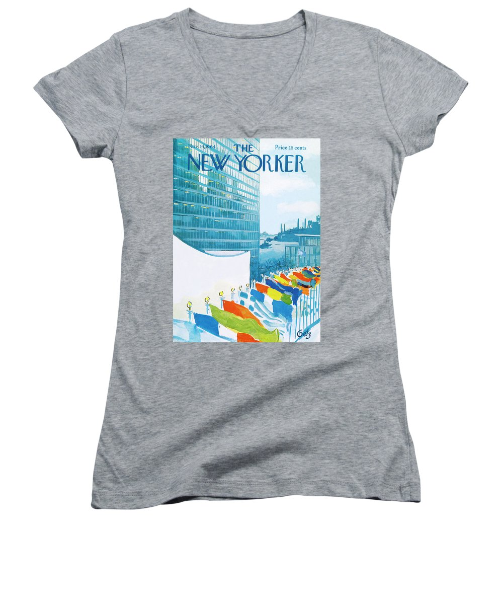 Urban Women's V-Neck featuring the painting New Yorker November 14th, 1964 by Arthur Getz
