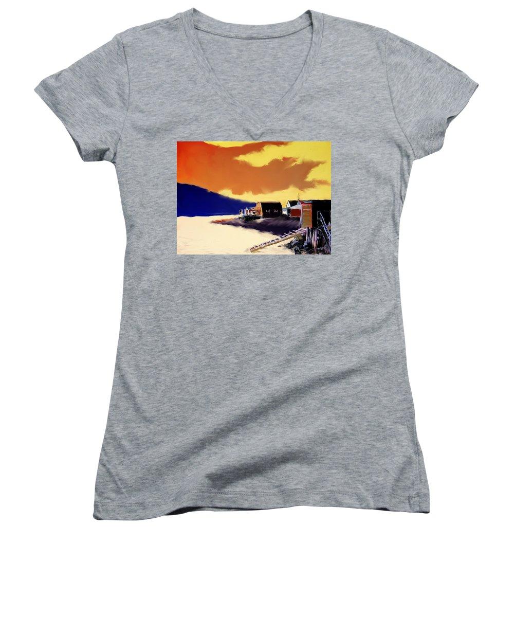 Newfoundland Women's V-Neck T-Shirt featuring the photograph Newfoundland Fishing Shacks by Ian MacDonald