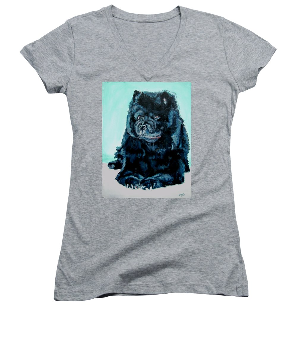 Dog Women's V-Neck T-Shirt featuring the painting Nikki The Chow by Bryan Bustard