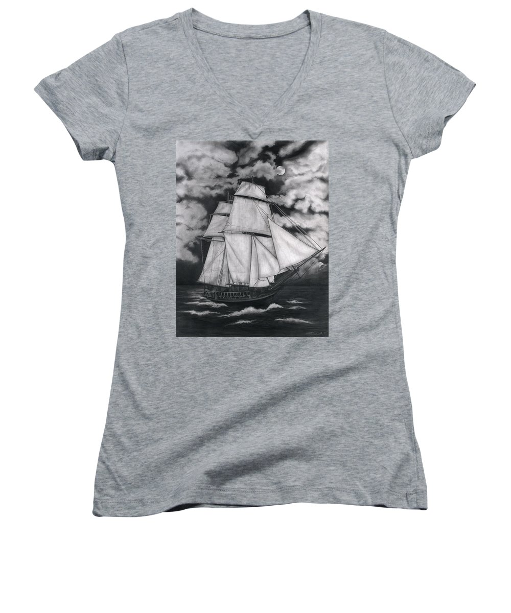 Ship Sailing Into The Northern Winds Women's V-Neck T-Shirt featuring the drawing Northern Winds by Larry Lehman