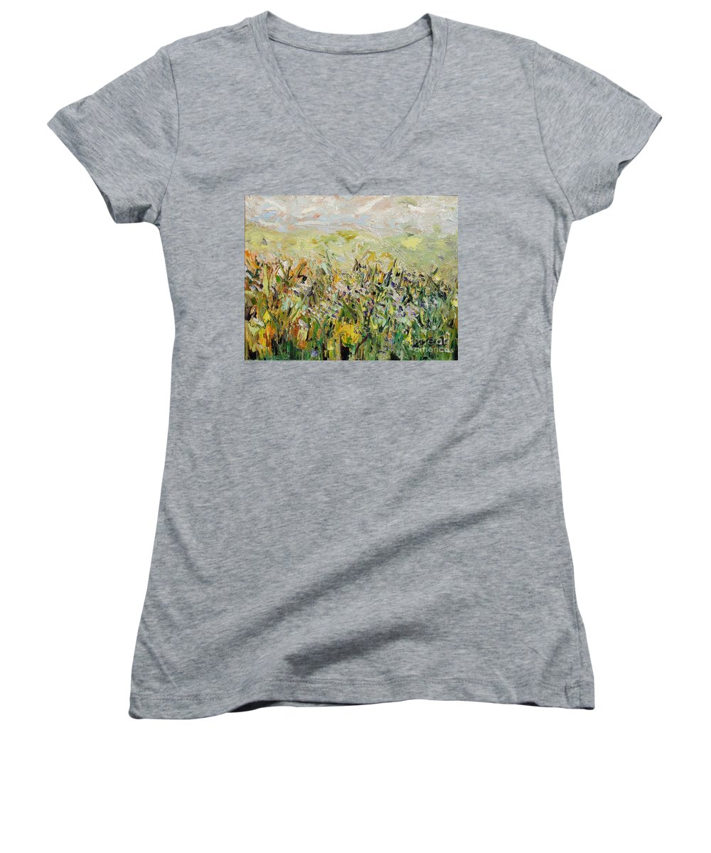 Field Paintings Women's V-Neck T-Shirt featuring the painting Nose Hill by Seon-Jeong Kim