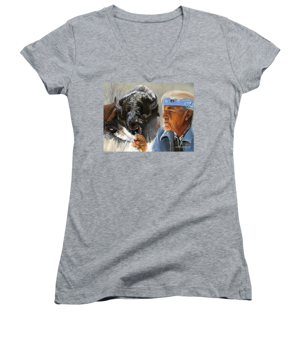 Southwest Art Women's V-Neck T-Shirt featuring the painting Nothing Is Ever Forgotten by J W Baker