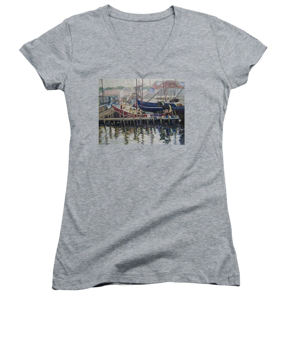 Boats Women's V-Neck T-Shirt featuring the painting Nova Scotia Boats At Rest by Richard Nowak