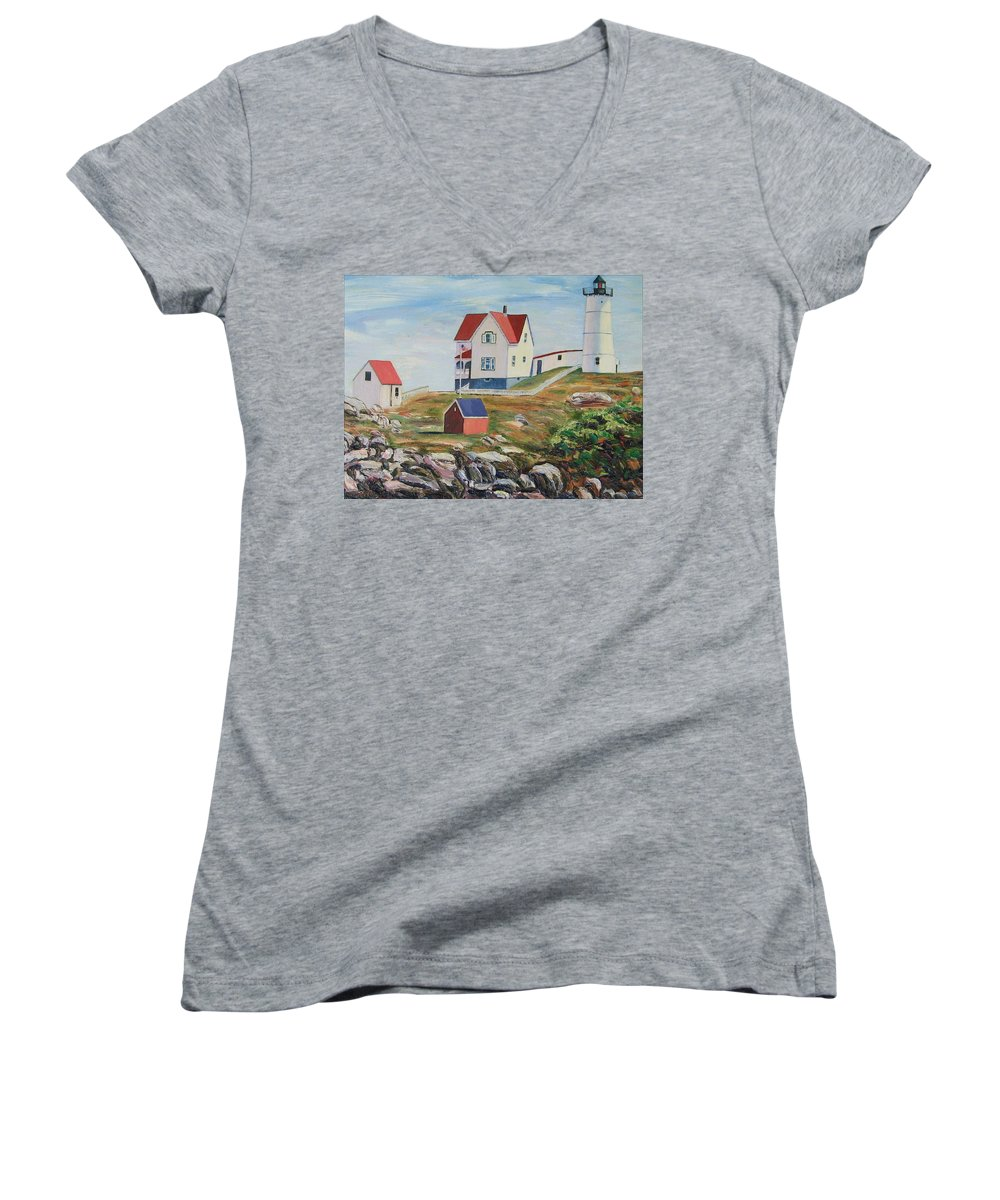 Nubble Light House Women's V-Neck (Athletic Fit) featuring the painting Nubble Light House Maine by Richard Nowak