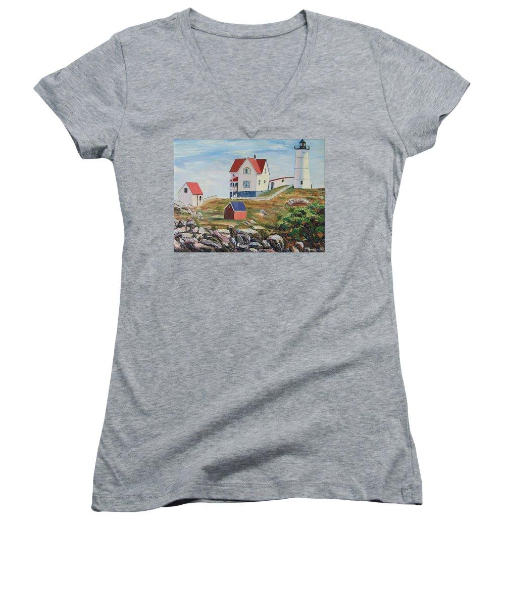 Nubble Light House Women's V-Neck T-Shirt featuring the painting Nubble Light House Maine by Richard Nowak