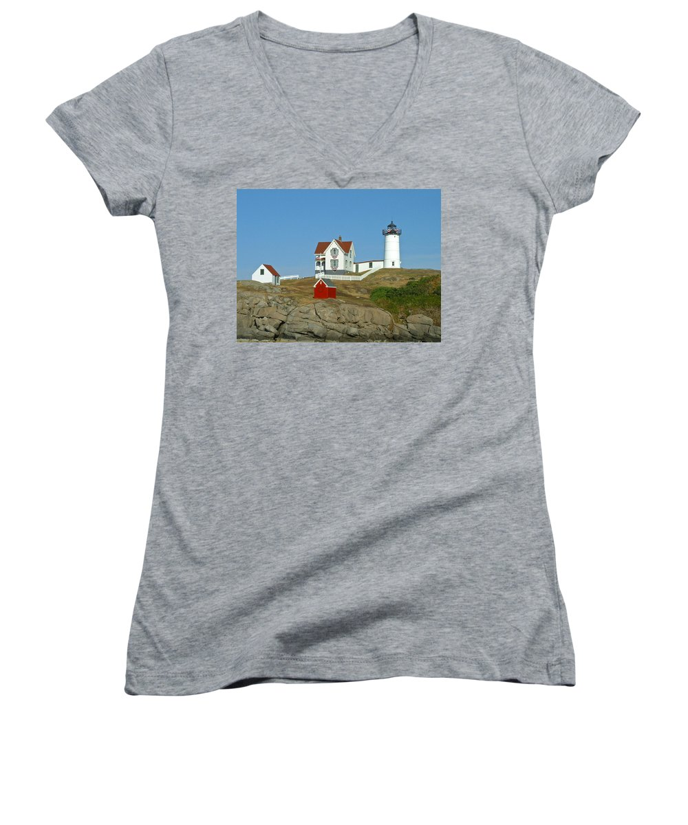 Nubble Women's V-Neck T-Shirt featuring the photograph Nubble Light by Margie Wildblood
