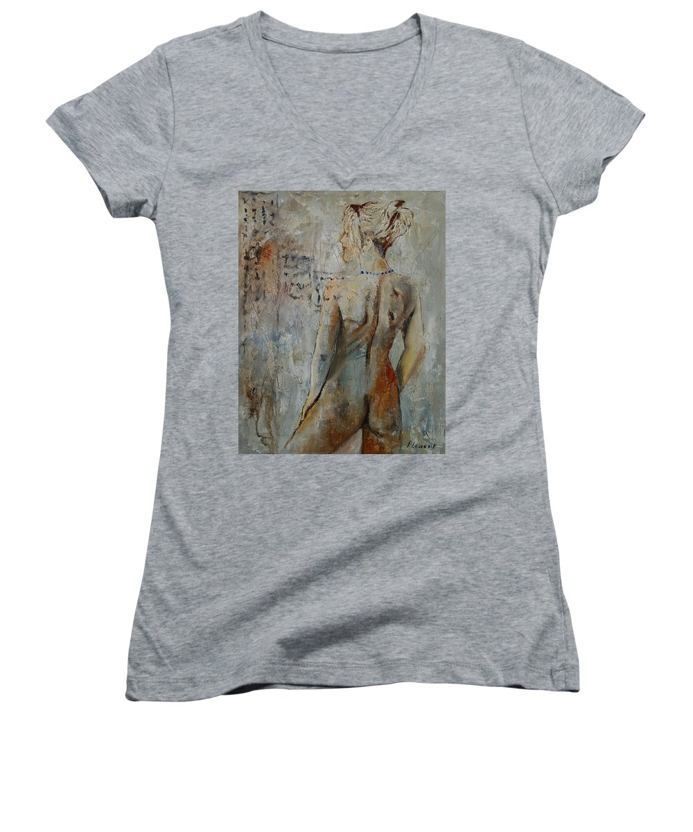 Girl Women's V-Neck (Athletic Fit) featuring the painting Nude 459020 by Pol Ledent