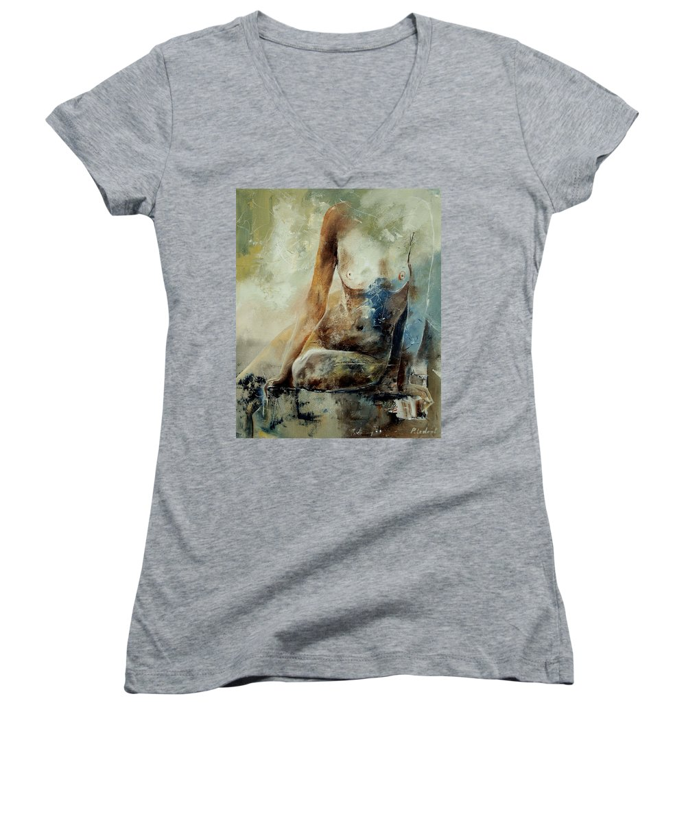Nude Women's V-Neck T-Shirt featuring the painting Nude 560408 by Pol Ledent