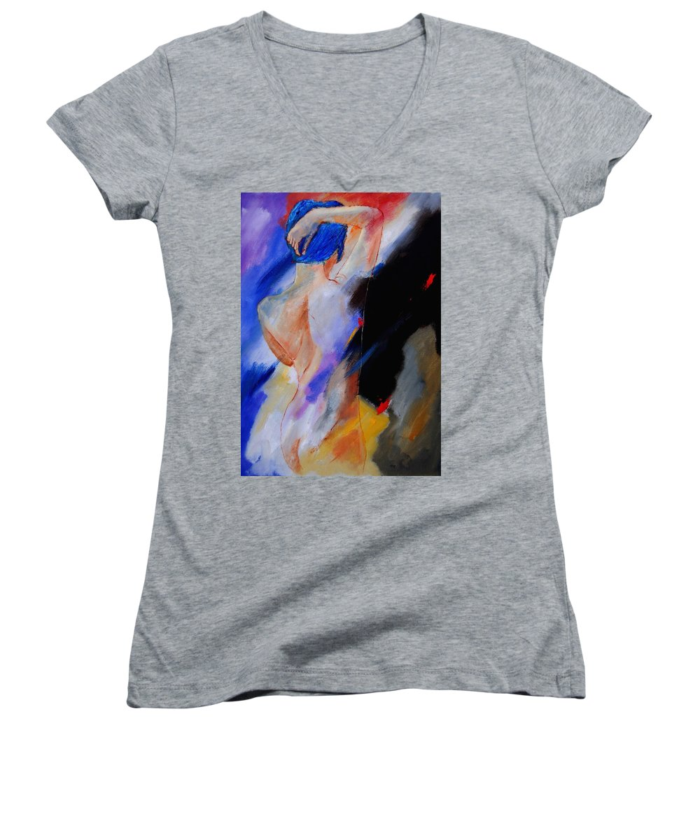 Nude Women's V-Neck T-Shirt featuring the painting Nude 579020 by Pol Ledent