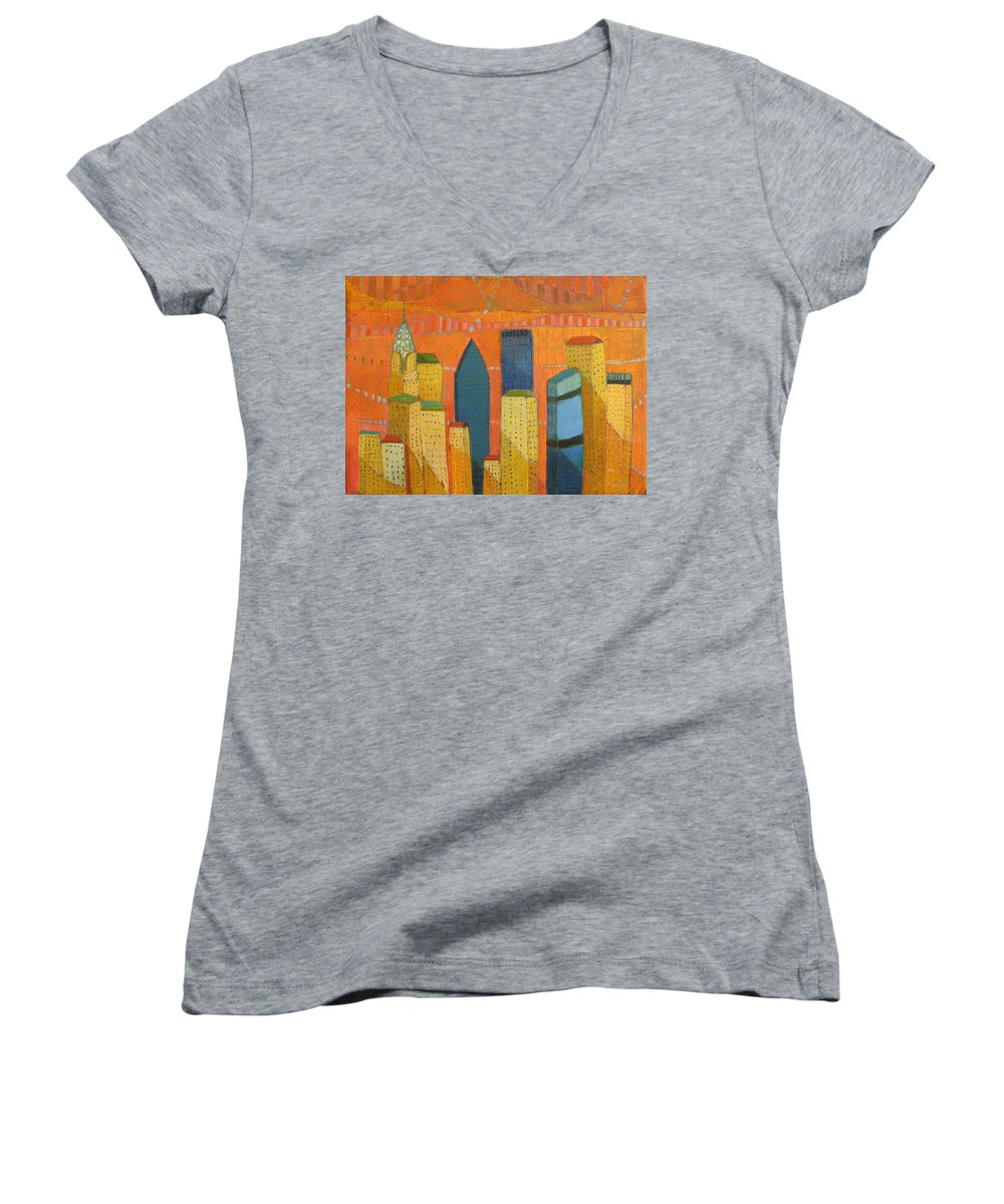 Abstract Cityscape Women's V-Neck T-Shirt featuring the painting Nyc With Chrysler by Habib Ayat