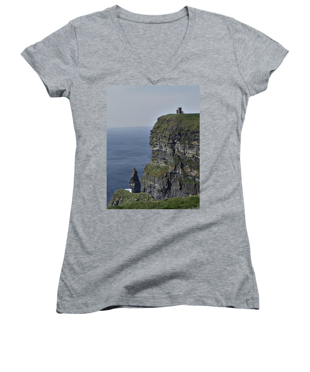 Irish Women's V-Neck (Athletic Fit) featuring the photograph O Brien's Tower At The Cliffs Of Moher Ireland by Teresa Mucha