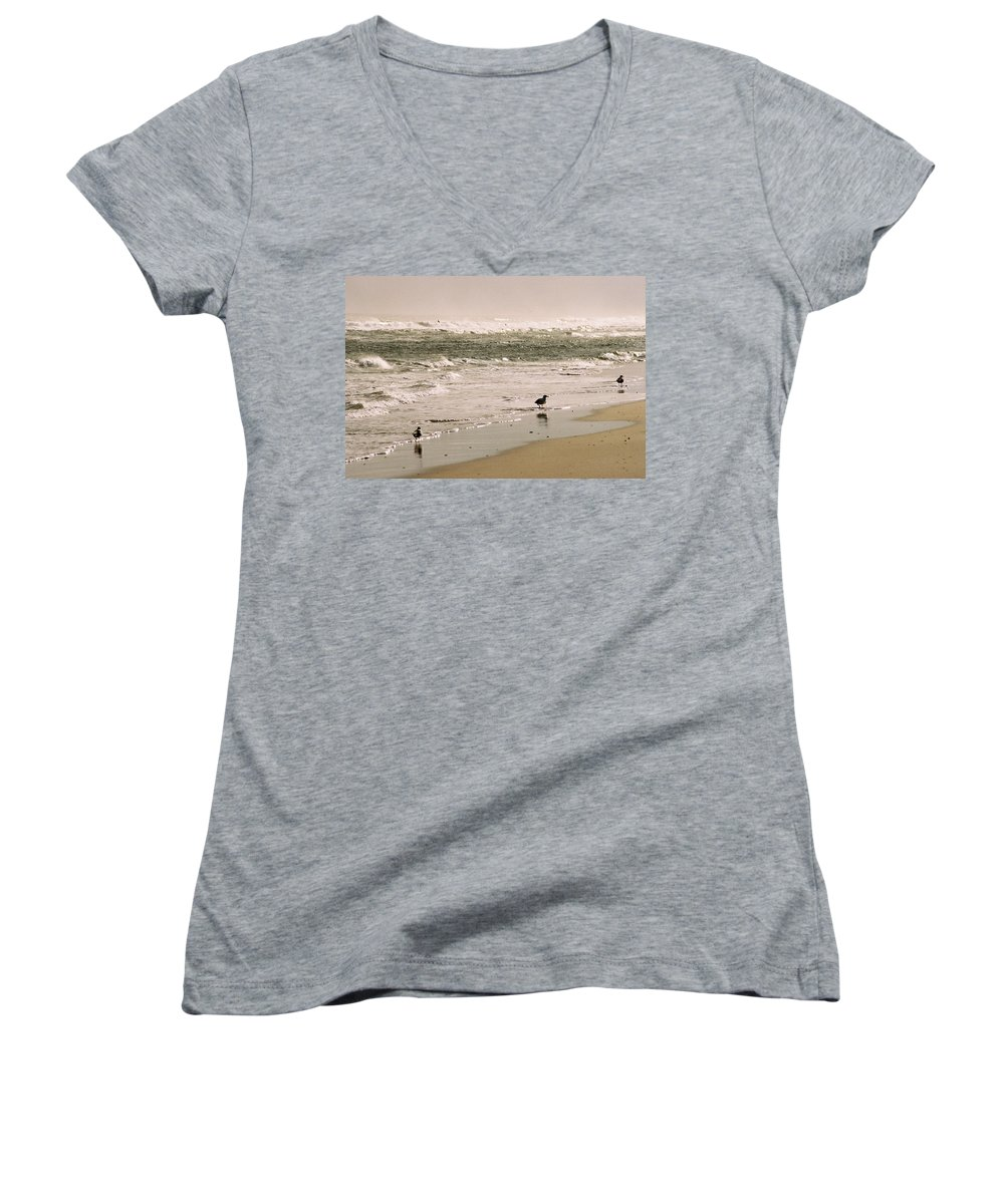 Seascape Women's V-Neck (Athletic Fit) featuring the photograph Ocean Edge by Steve Karol