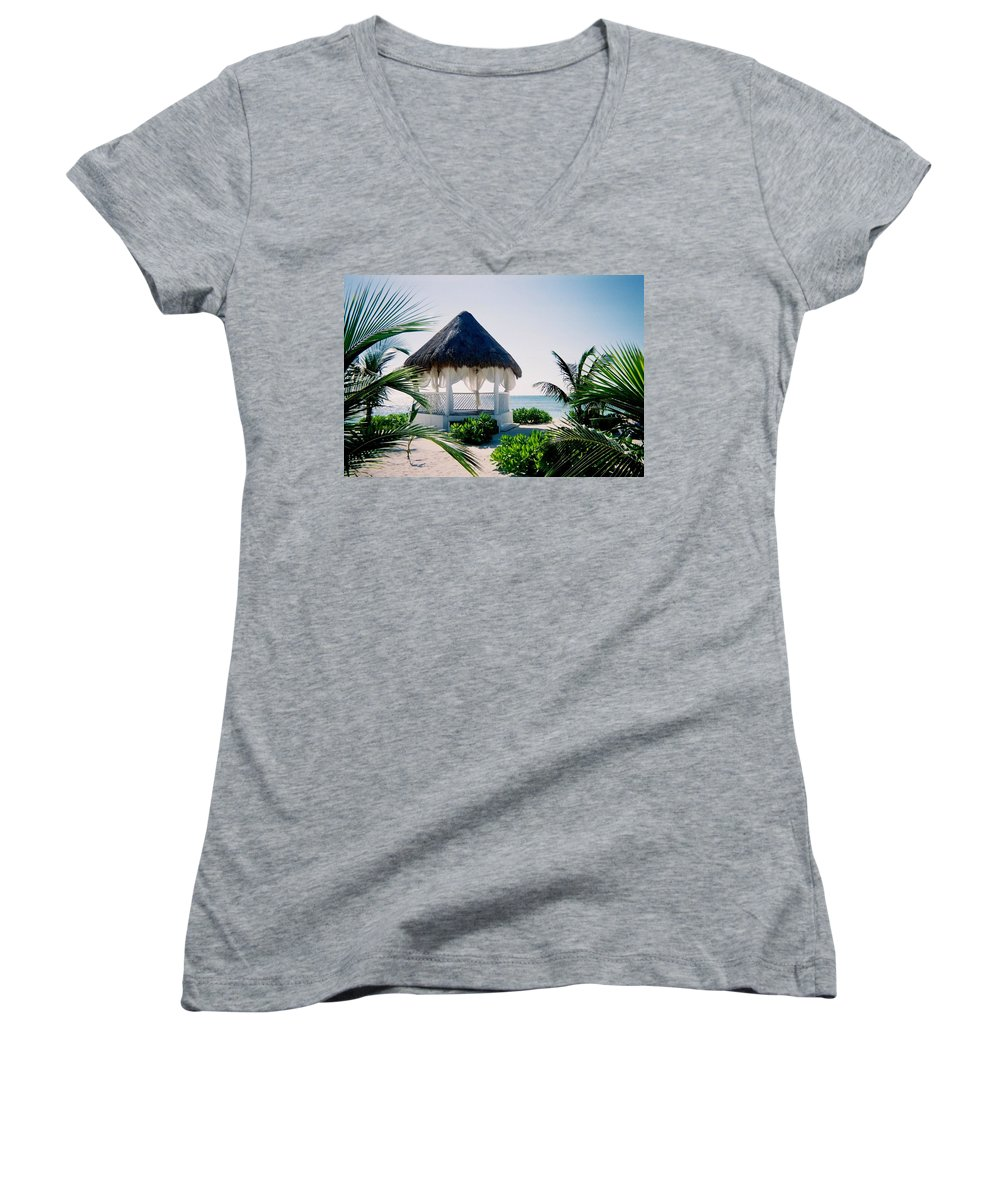 Resort Women's V-Neck (Athletic Fit) featuring the photograph Ocean Gazebo by Anita Burgermeister