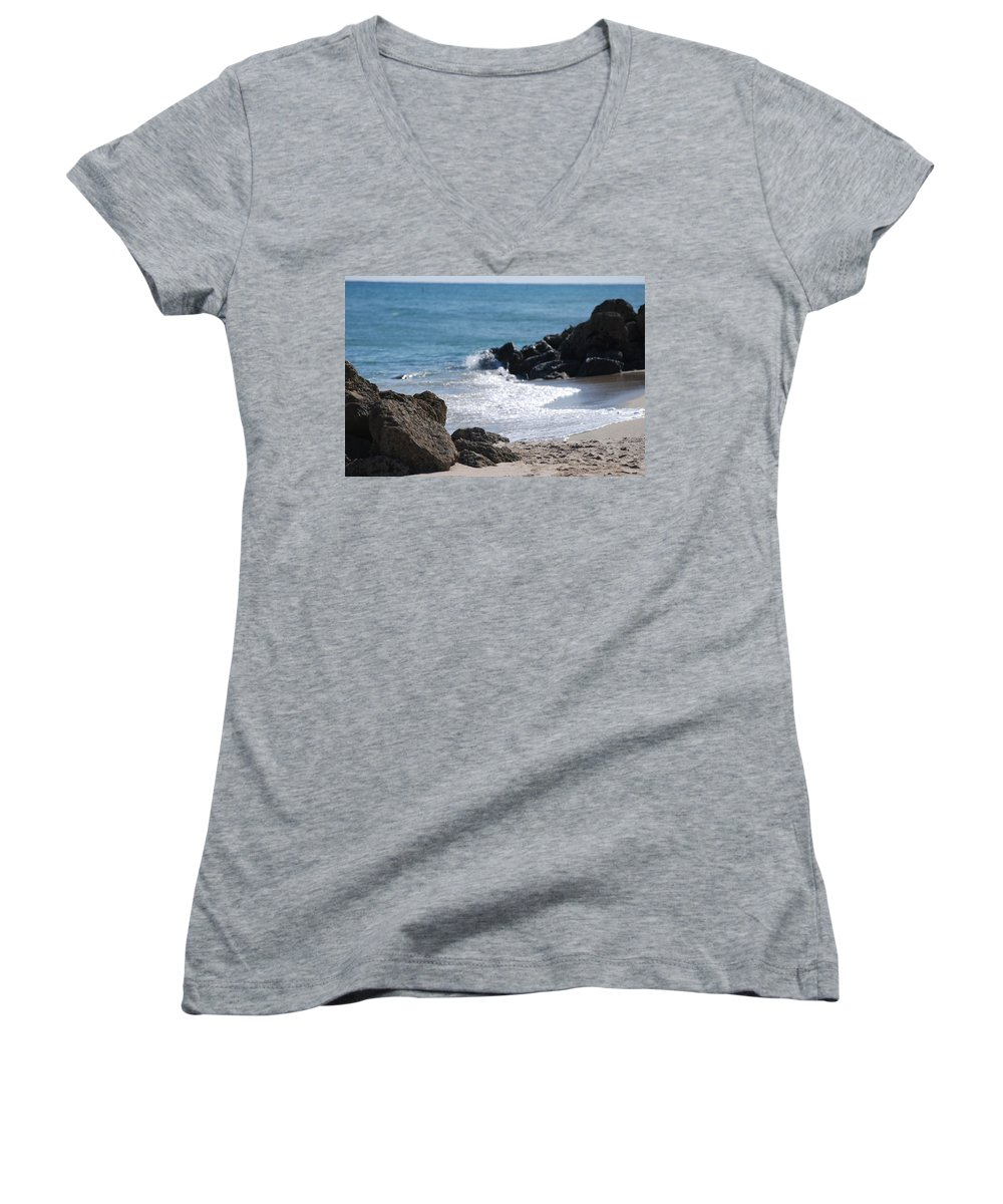 Sea Scape Women's V-Neck T-Shirt featuring the photograph Ocean Rocks by Rob Hans