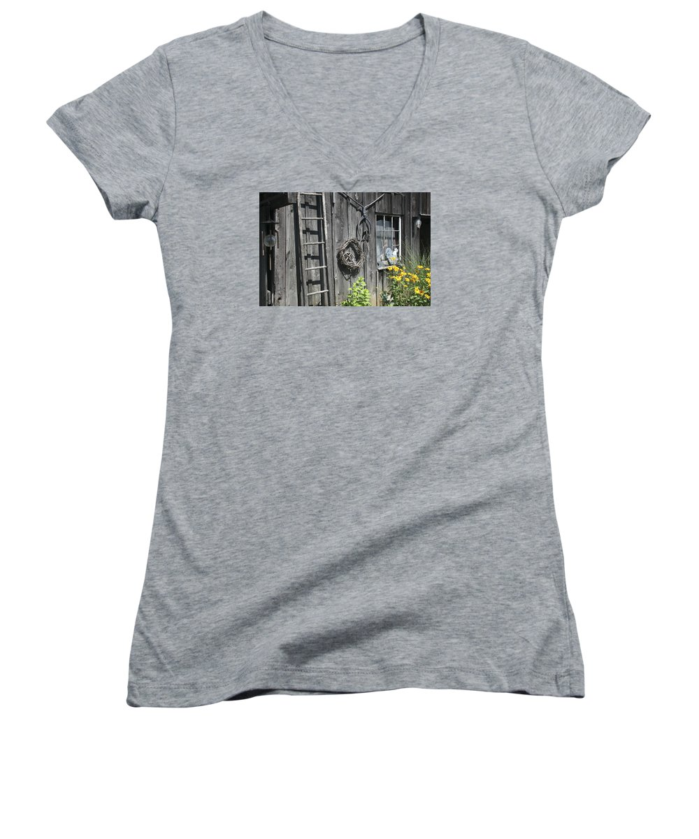 Barn Women's V-Neck T-Shirt featuring the photograph Old Barn II by Margie Wildblood