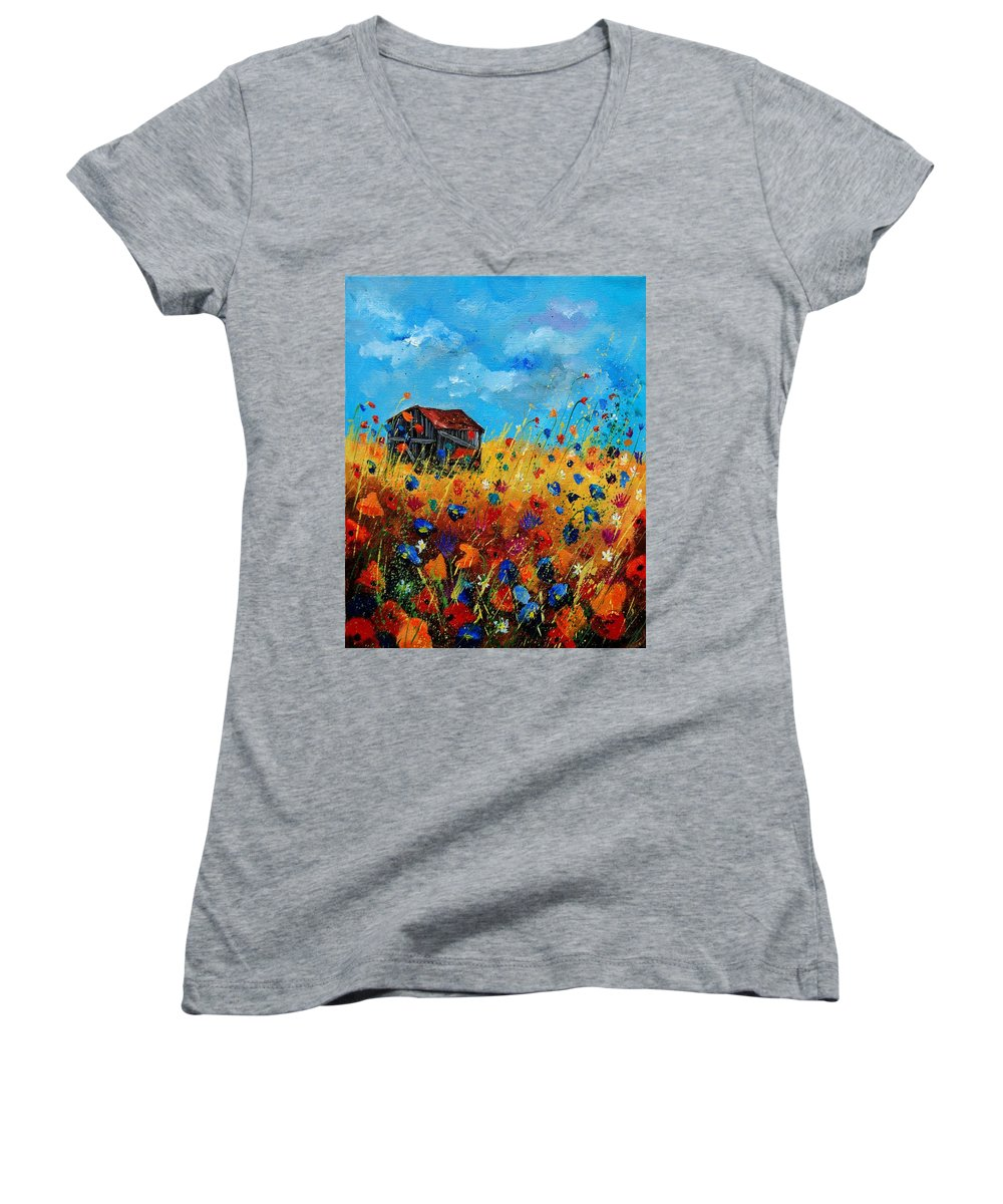 Poppies Women's V-Neck T-Shirt featuring the painting Old Barn by Pol Ledent