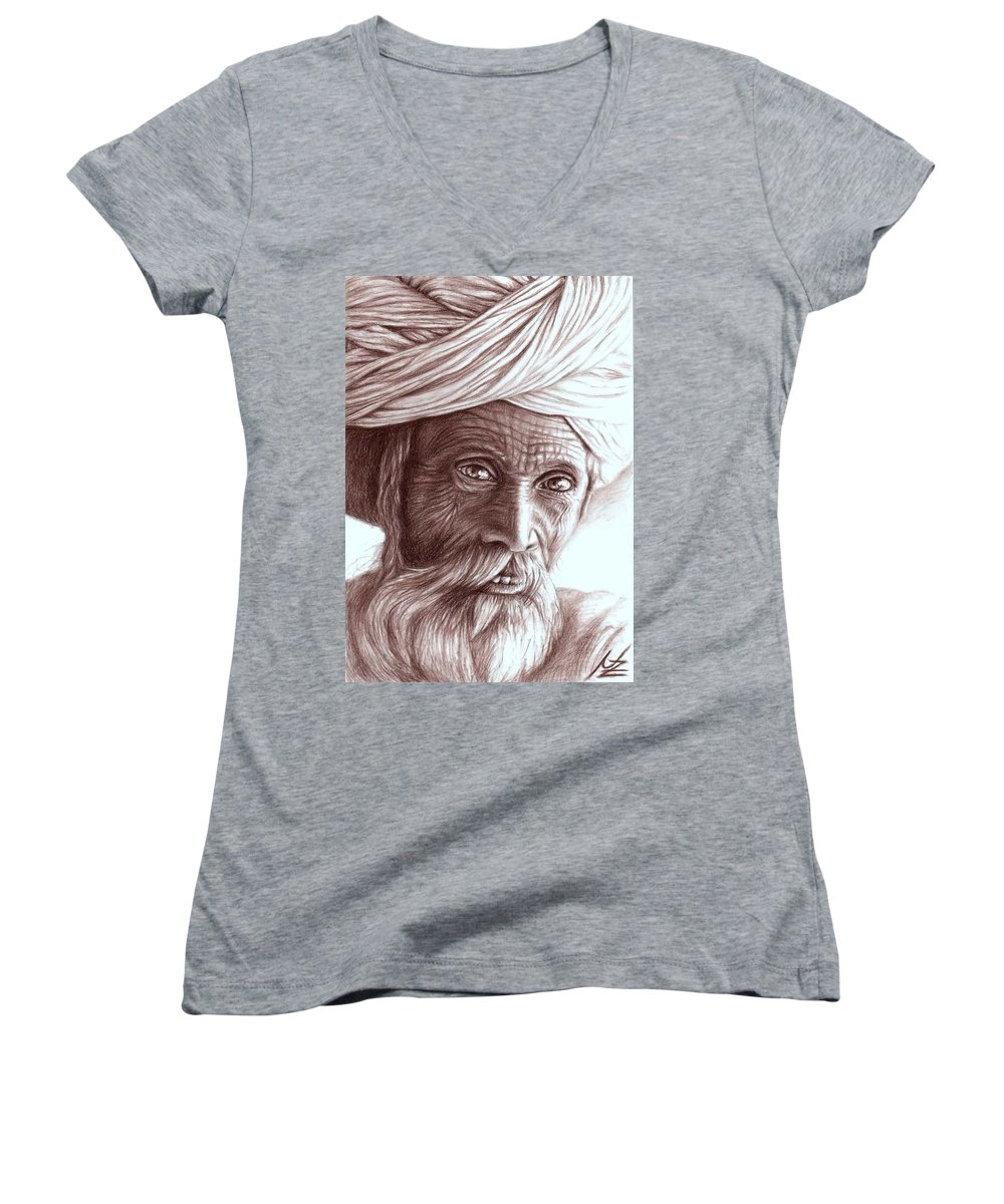 Man Women's V-Neck T-Shirt featuring the drawing Old Indian Man by Nicole Zeug