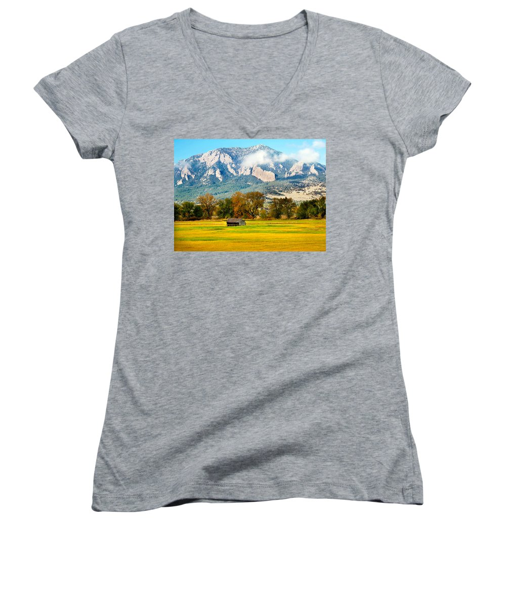 Rural Women's V-Neck T-Shirt featuring the photograph Old Shed by Marilyn Hunt