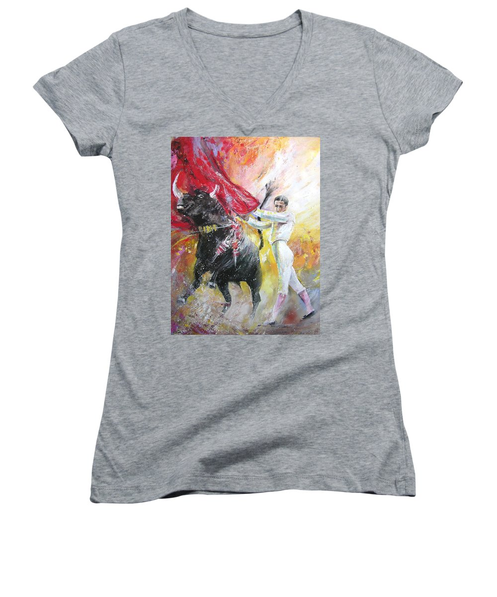 Animals Women's V-Neck T-Shirt featuring the painting Ole by Miki De Goodaboom