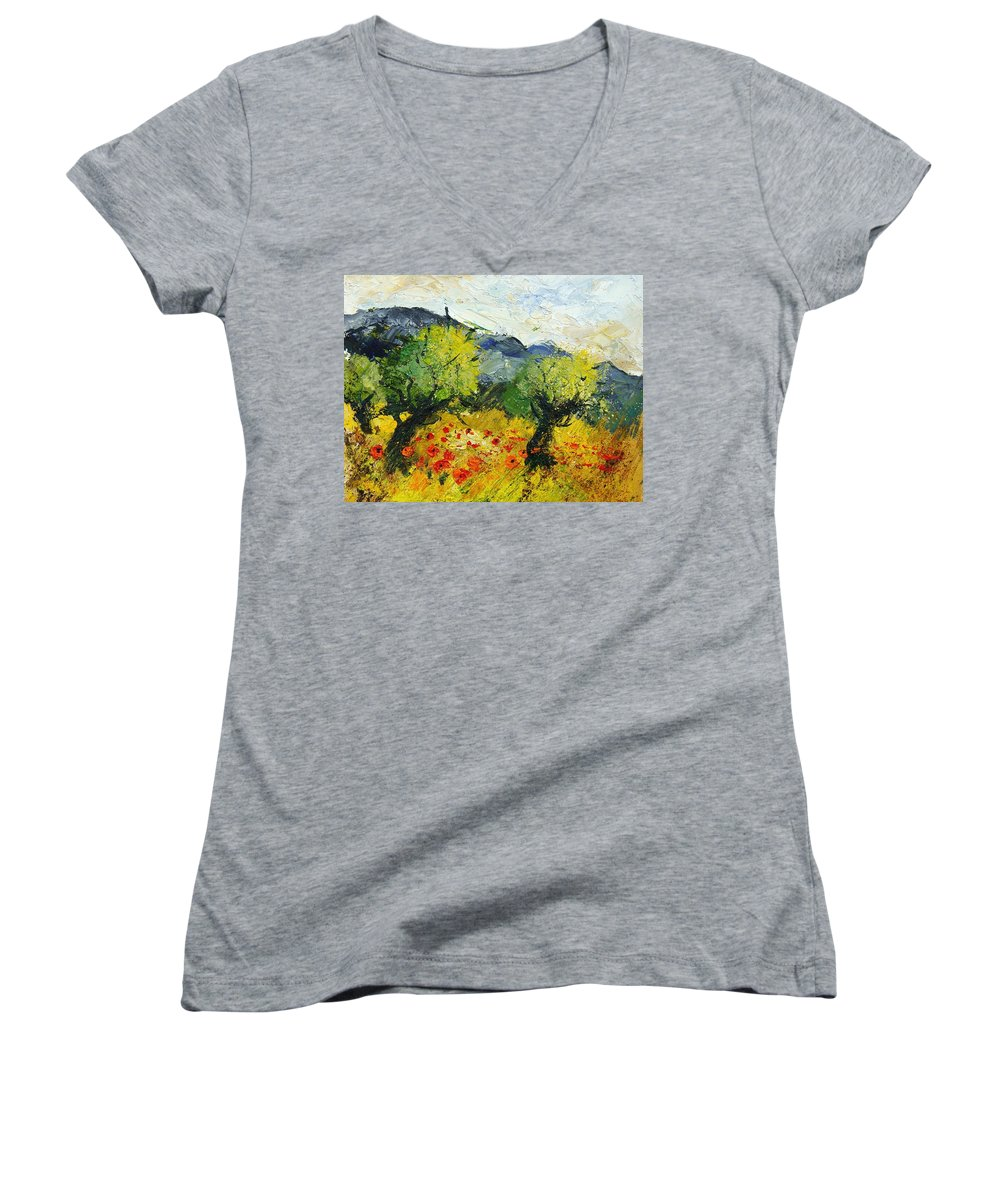 Flowers Women's V-Neck (Athletic Fit) featuring the painting Olive Trees And Poppies by Pol Ledent