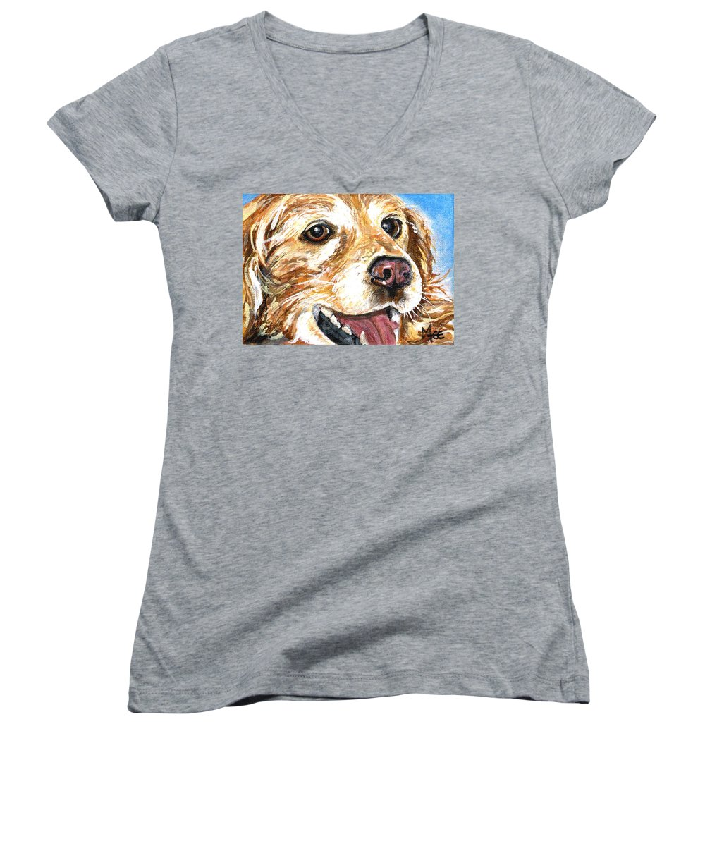 Charity Women's V-Neck T-Shirt featuring the painting Oliver From Muttville by Mary-Lee Sanders