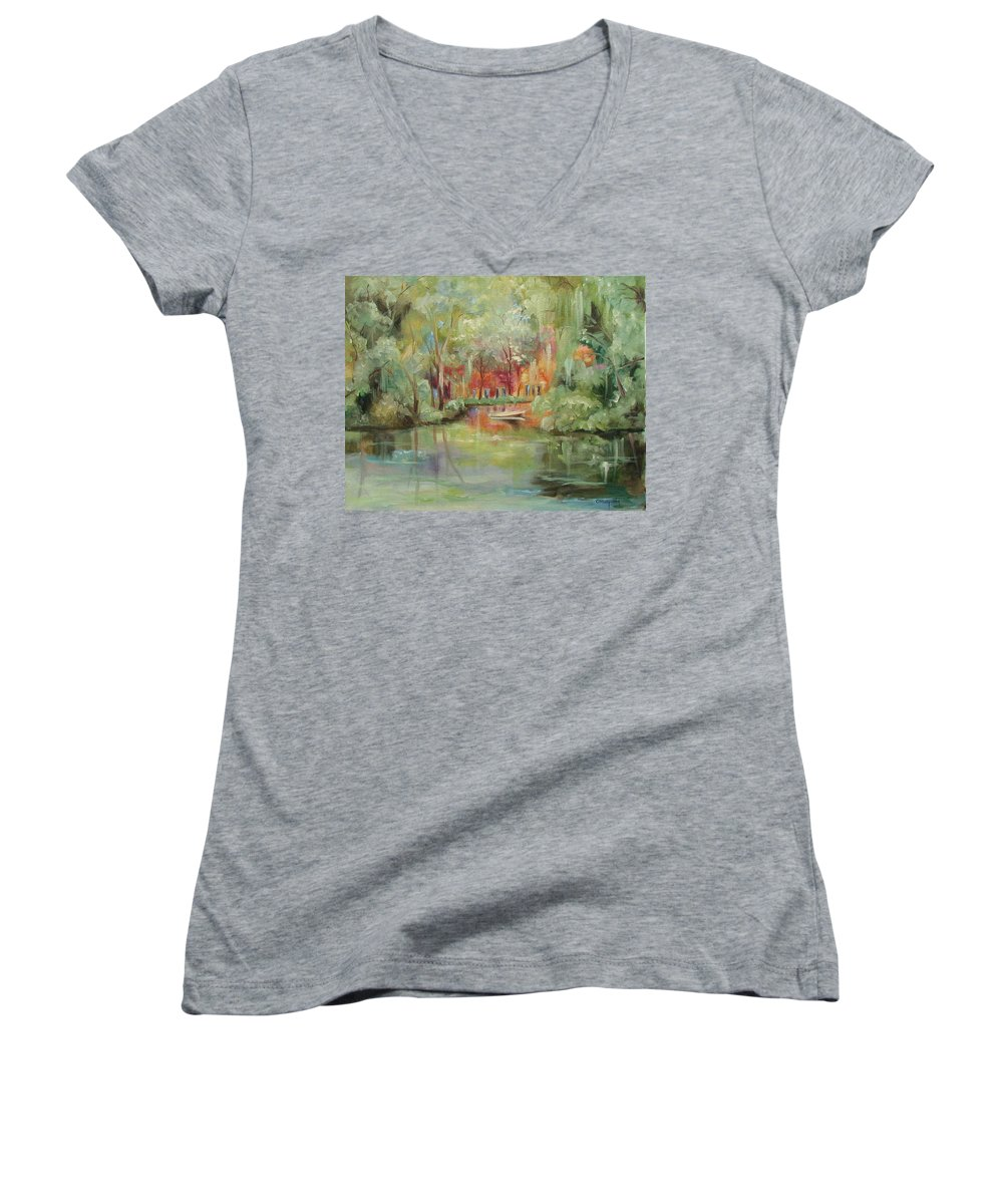 Bayou Women's V-Neck T-Shirt featuring the painting On A Bayou by Ginger Concepcion
