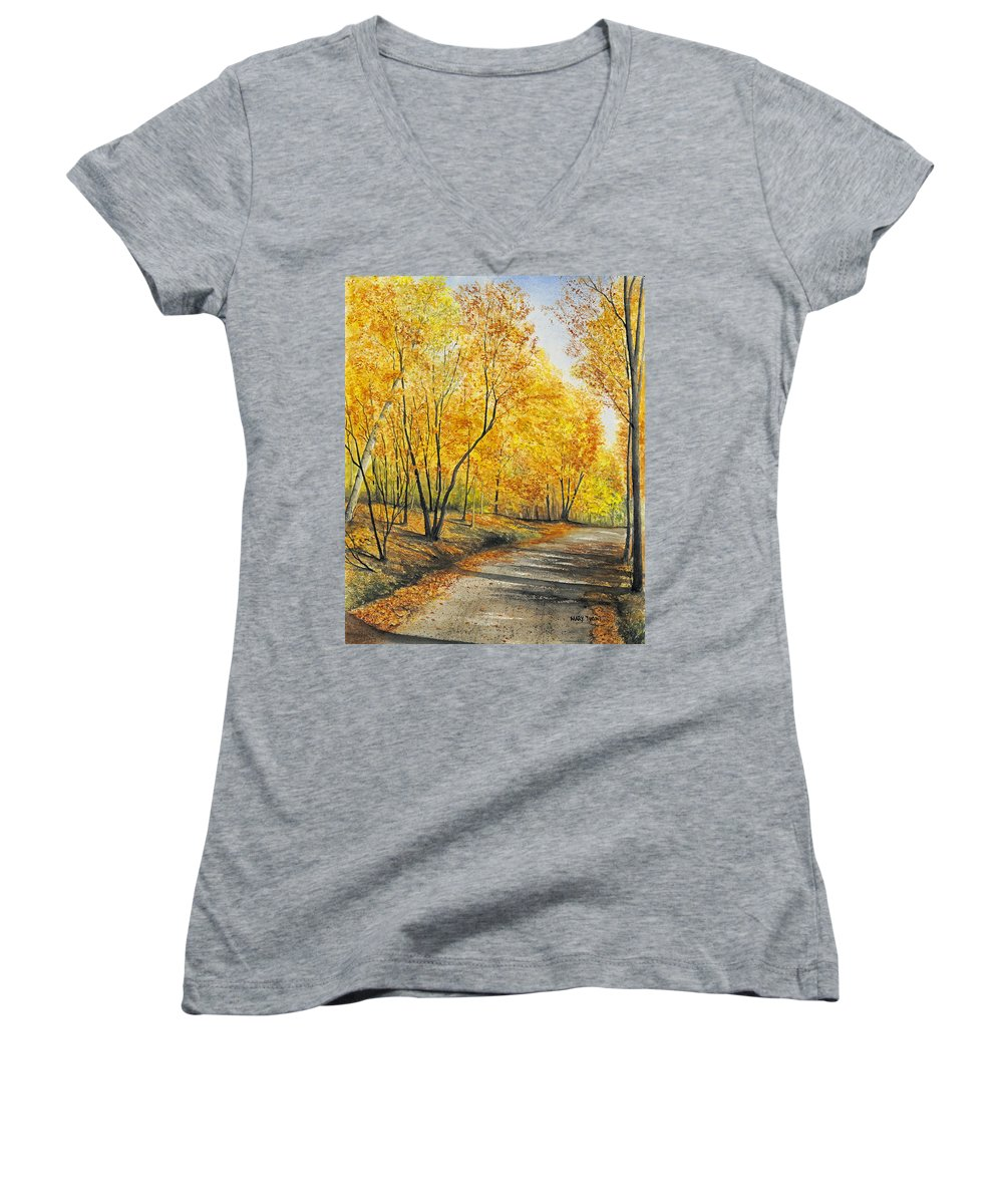 Autumn Women's V-Neck (Athletic Fit) featuring the painting On Golden Road by Mary Tuomi