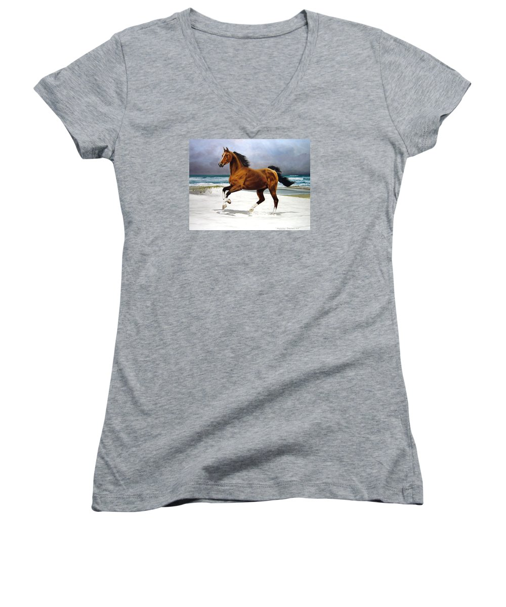 Horse Women's V-Neck (Athletic Fit) featuring the painting On The Beach by Marc Stewart