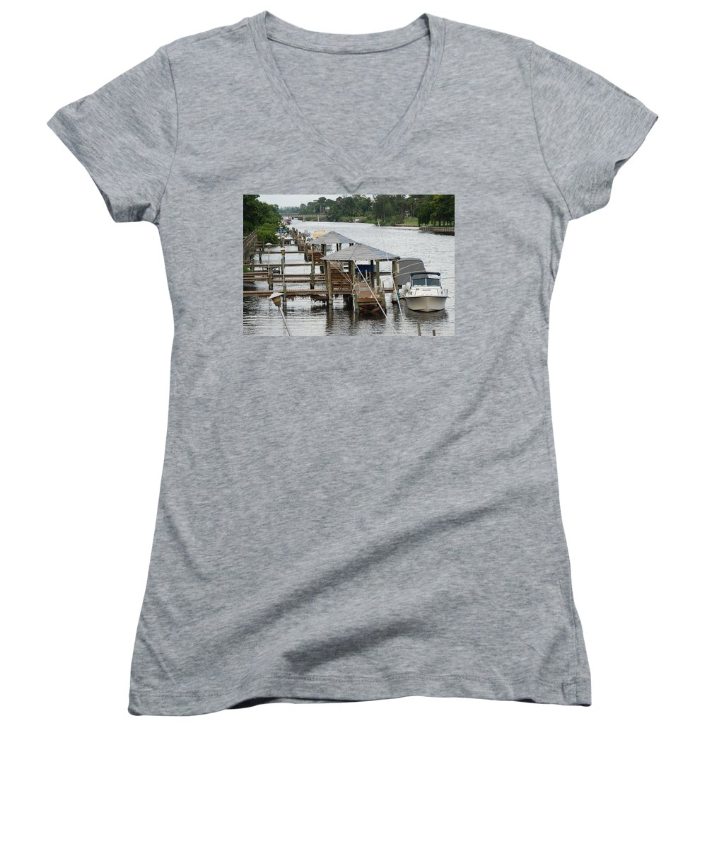 Boats Women's V-Neck (Athletic Fit) featuring the photograph On The Hillsboro Canal by Rob Hans
