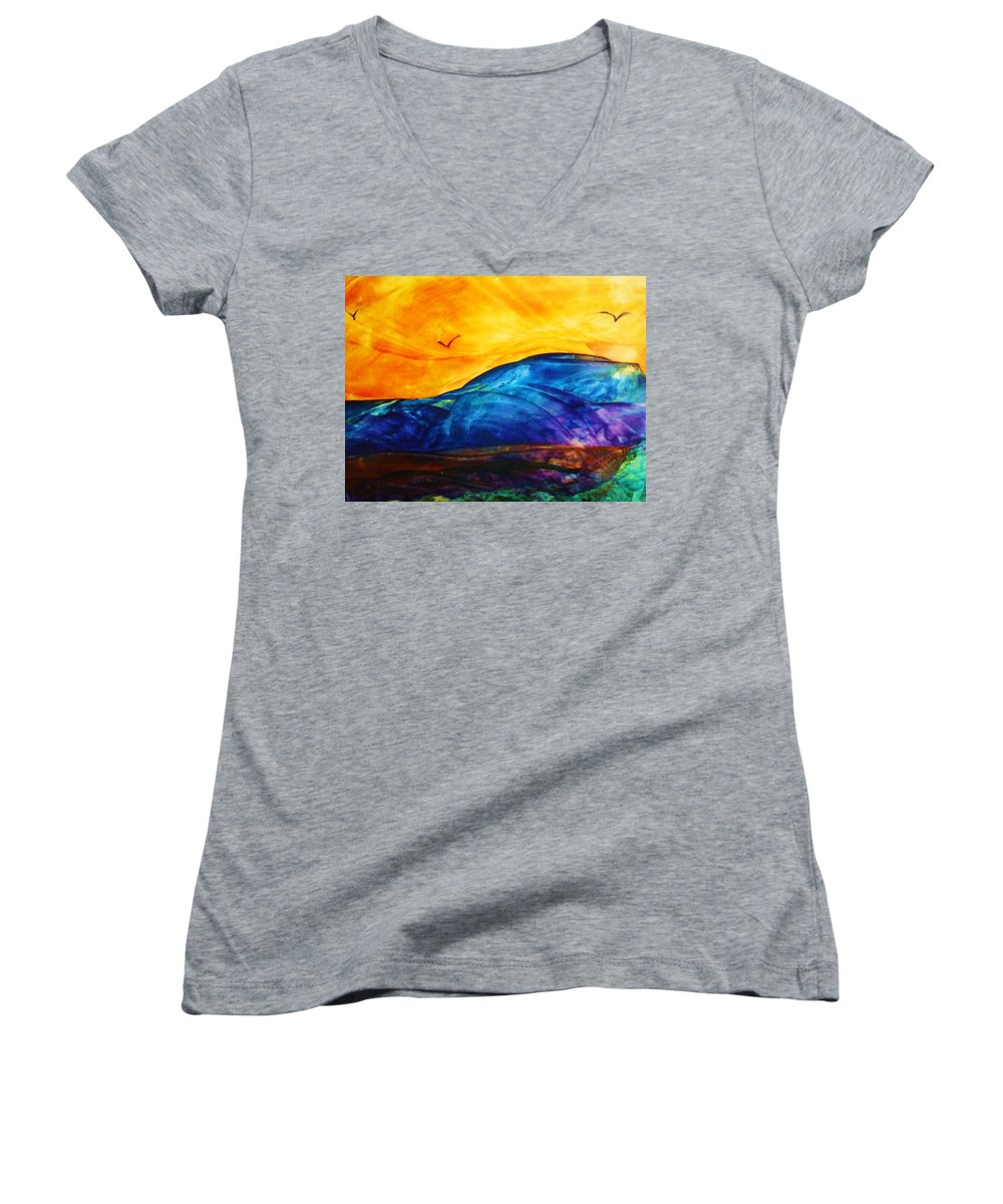 Landscape Women's V-Neck (Athletic Fit) featuring the painting One Fine Day by Melinda Etzold