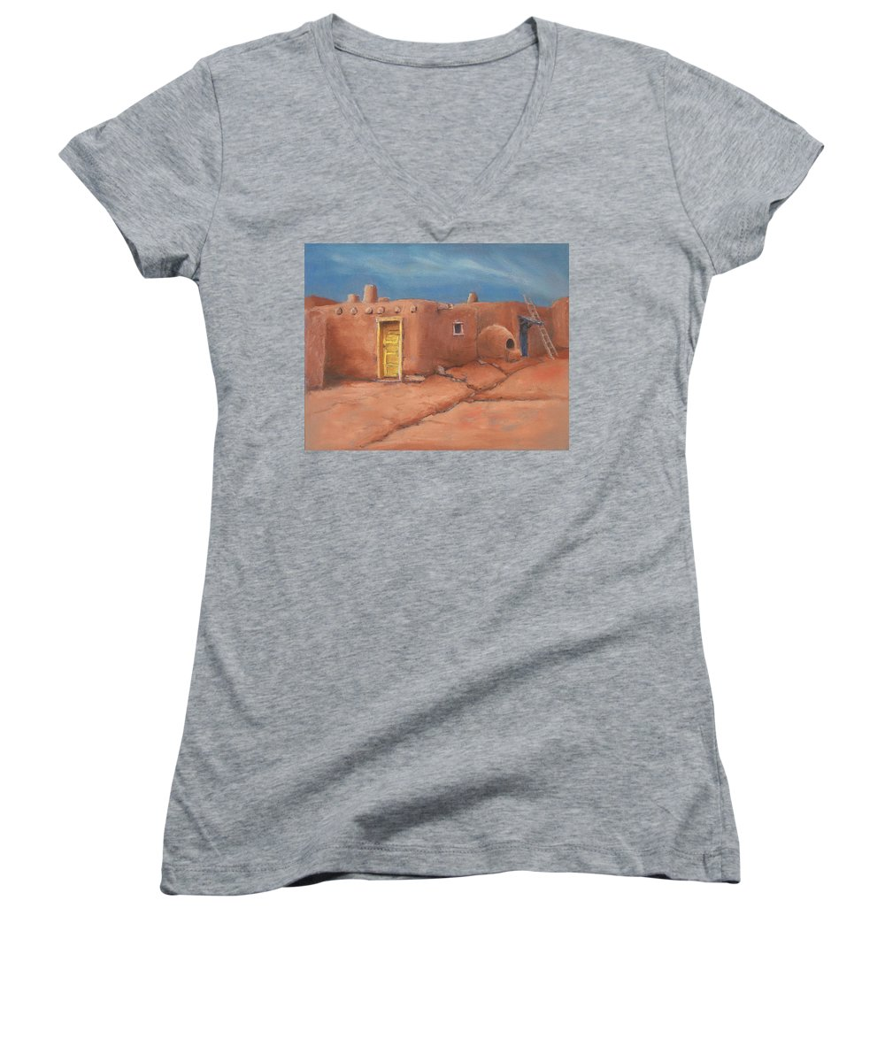Taos Women's V-Neck T-Shirt featuring the painting One Yellow Door by Jerry McElroy