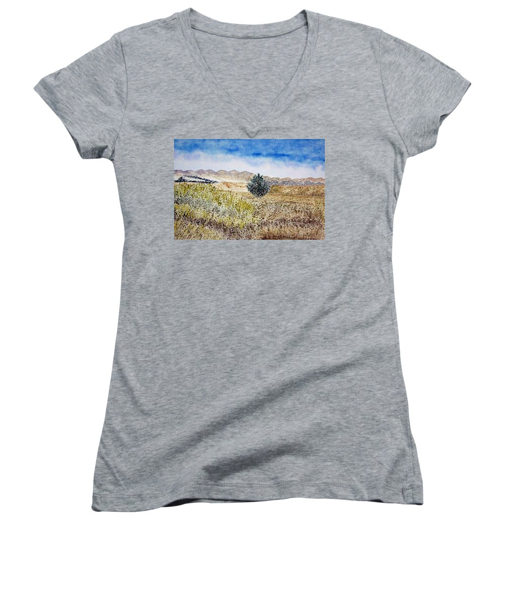 Desert Art Women's V-Neck (Athletic Fit) featuring the painting Onyo National Forest by Larry Wright