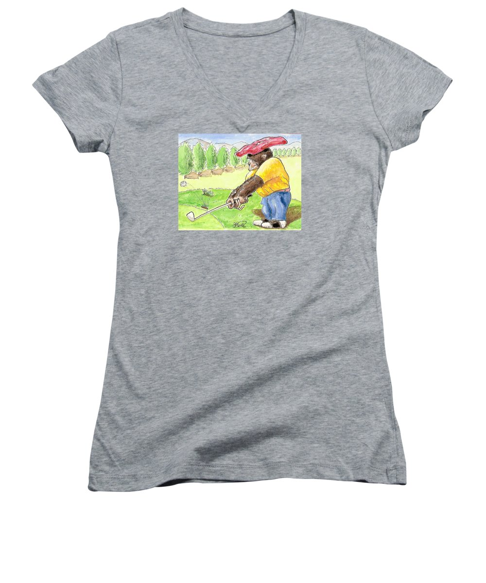 Golf Women's V-Neck (Athletic Fit) featuring the painting Oops by George I Perez