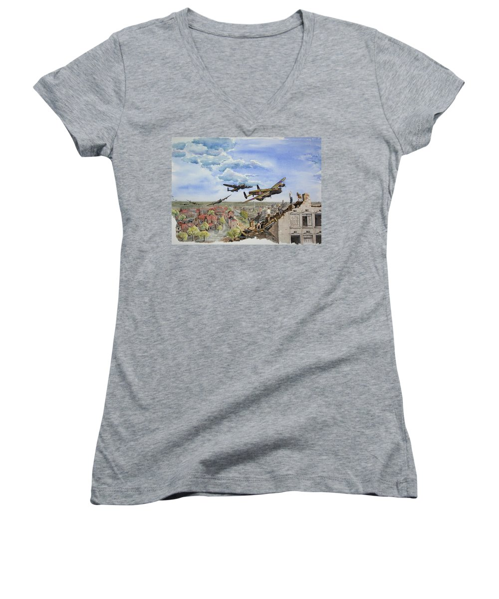 Lancaster Bomber Women's V-Neck (Athletic Fit) featuring the painting Operation Manna I by Gale Cochran-Smith