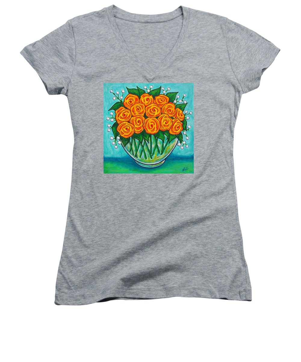 Orange Women's V-Neck (Athletic Fit) featuring the painting Orange Passion by Lisa Lorenz