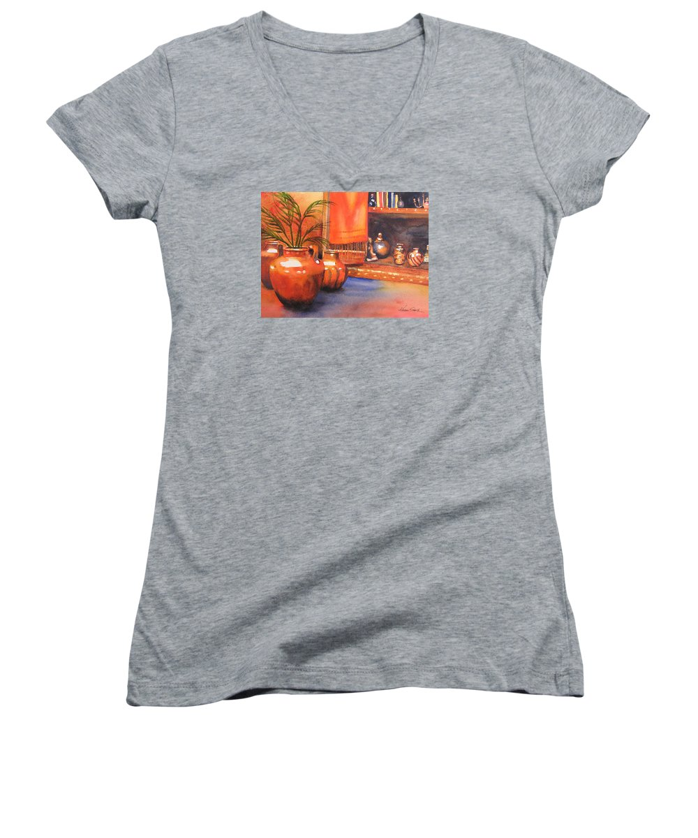 Pottery Women's V-Neck T-Shirt featuring the painting Orange Scarf by Karen Stark