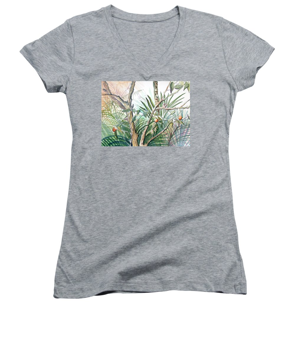 Fruit Women's V-Neck T-Shirt featuring the painting Orange Tree by Mindy Newman