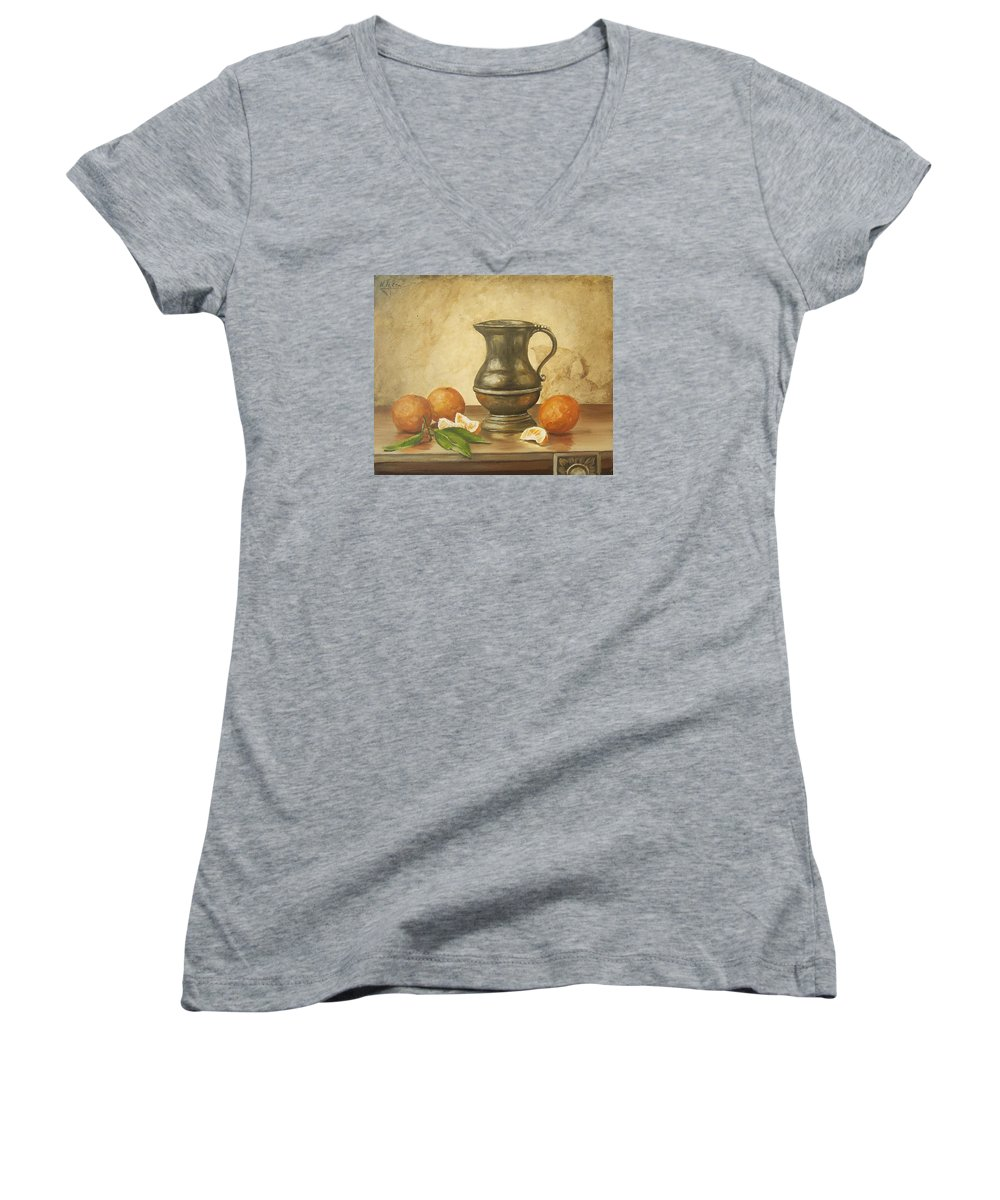 Still Life Women's V-Neck (Athletic Fit) featuring the painting Oranges by Natalia Tejera