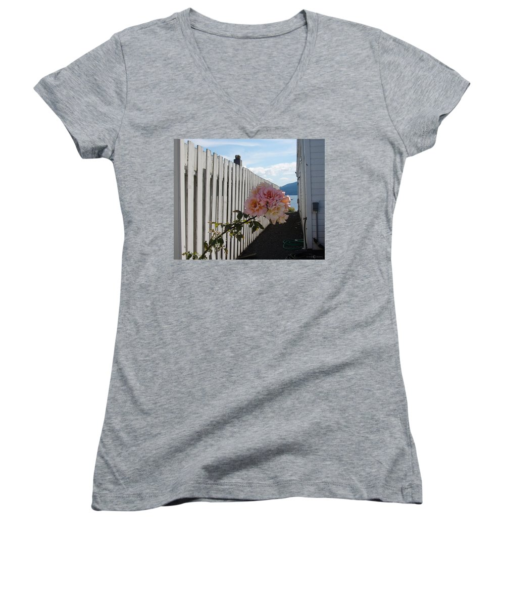 Rose Women's V-Neck T-Shirt featuring the photograph Orcas Island Rose by Tim Nyberg