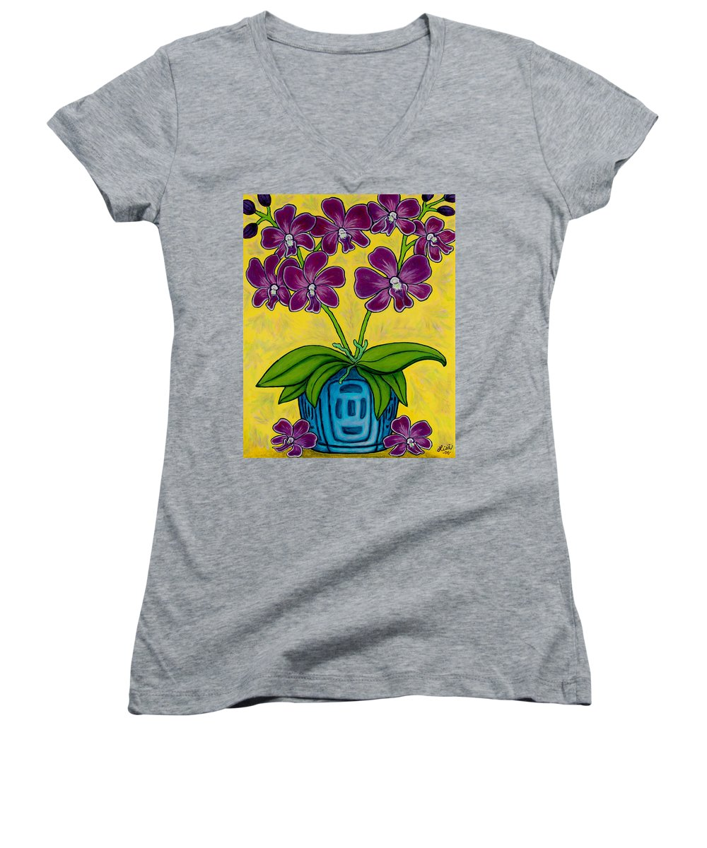 Orchids Women's V-Neck T-Shirt featuring the painting Orchid Delight by Lisa Lorenz