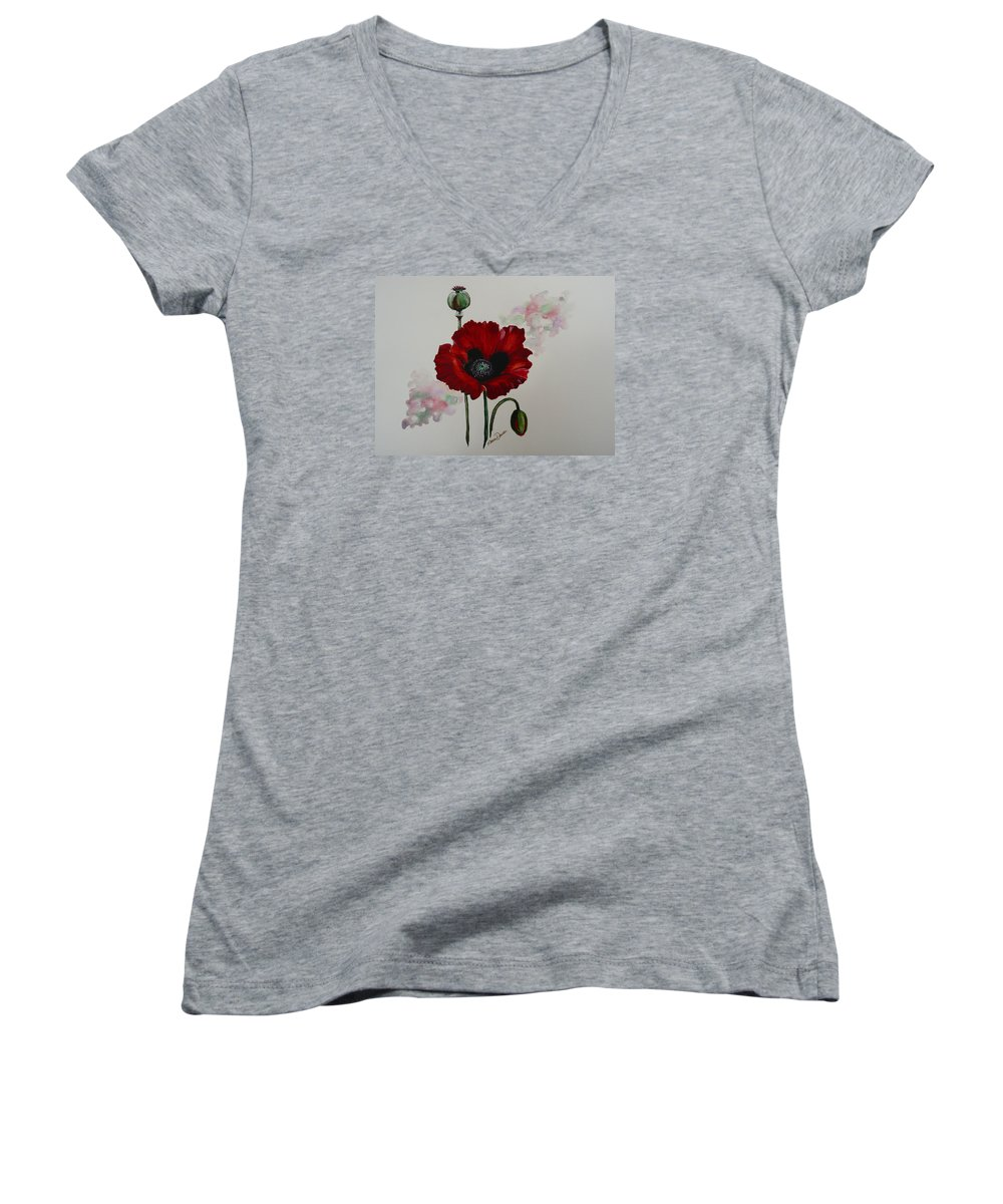 Floral Poppy Red Flower Women's V-Neck T-Shirt featuring the painting Oriental Poppy by Karin Dawn Kelshall- Best