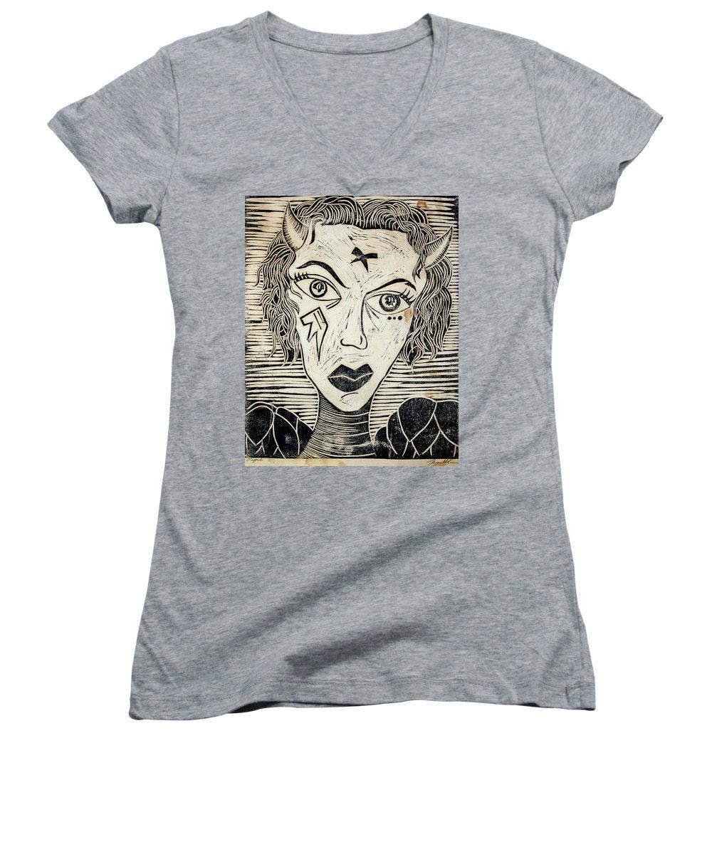 Block Print Women's V-Neck T-Shirt featuring the print Original Devil Block Print by Thomas Valentine