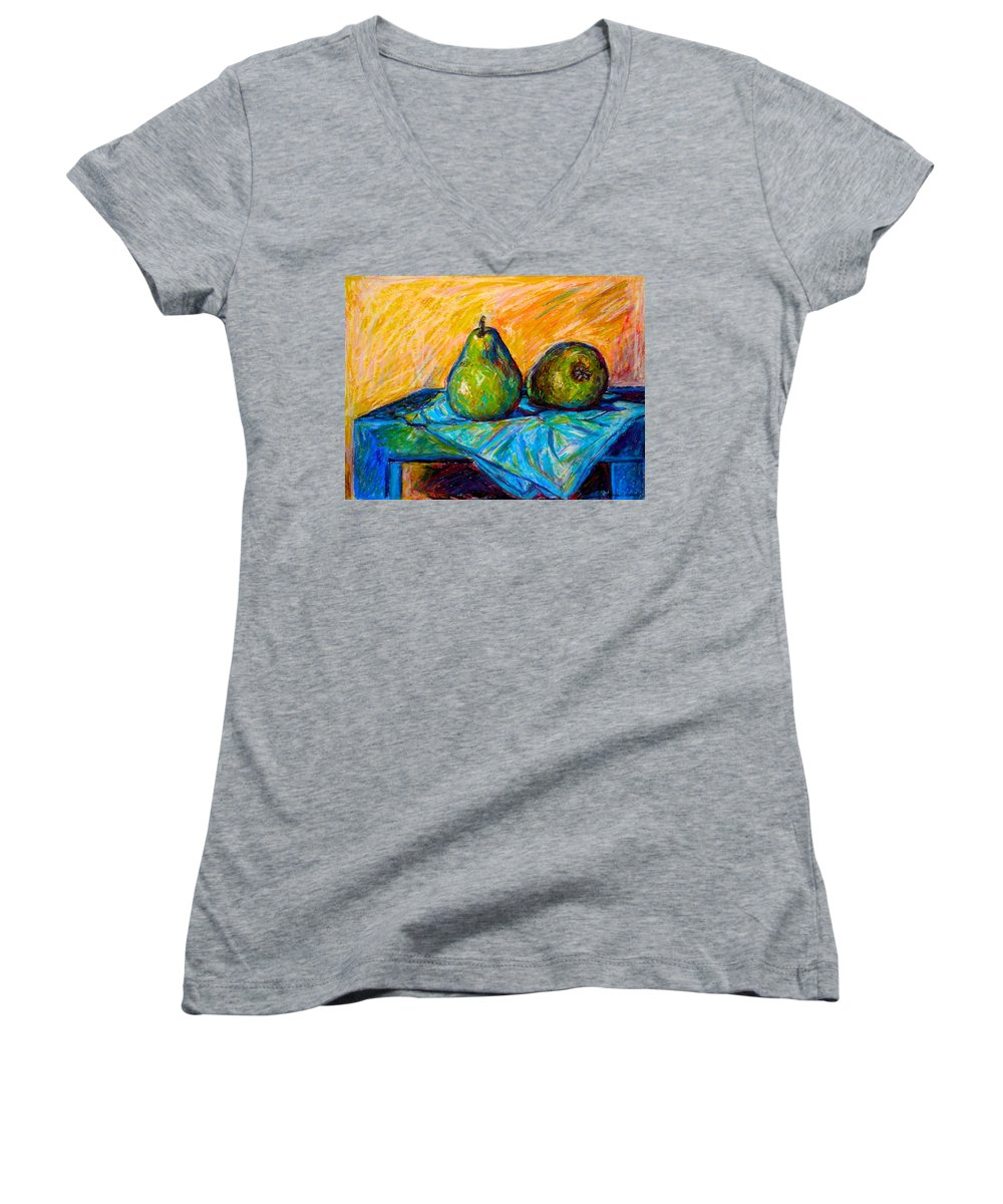 Still Life Women's V-Neck T-Shirt featuring the painting Other Pears by Kendall Kessler