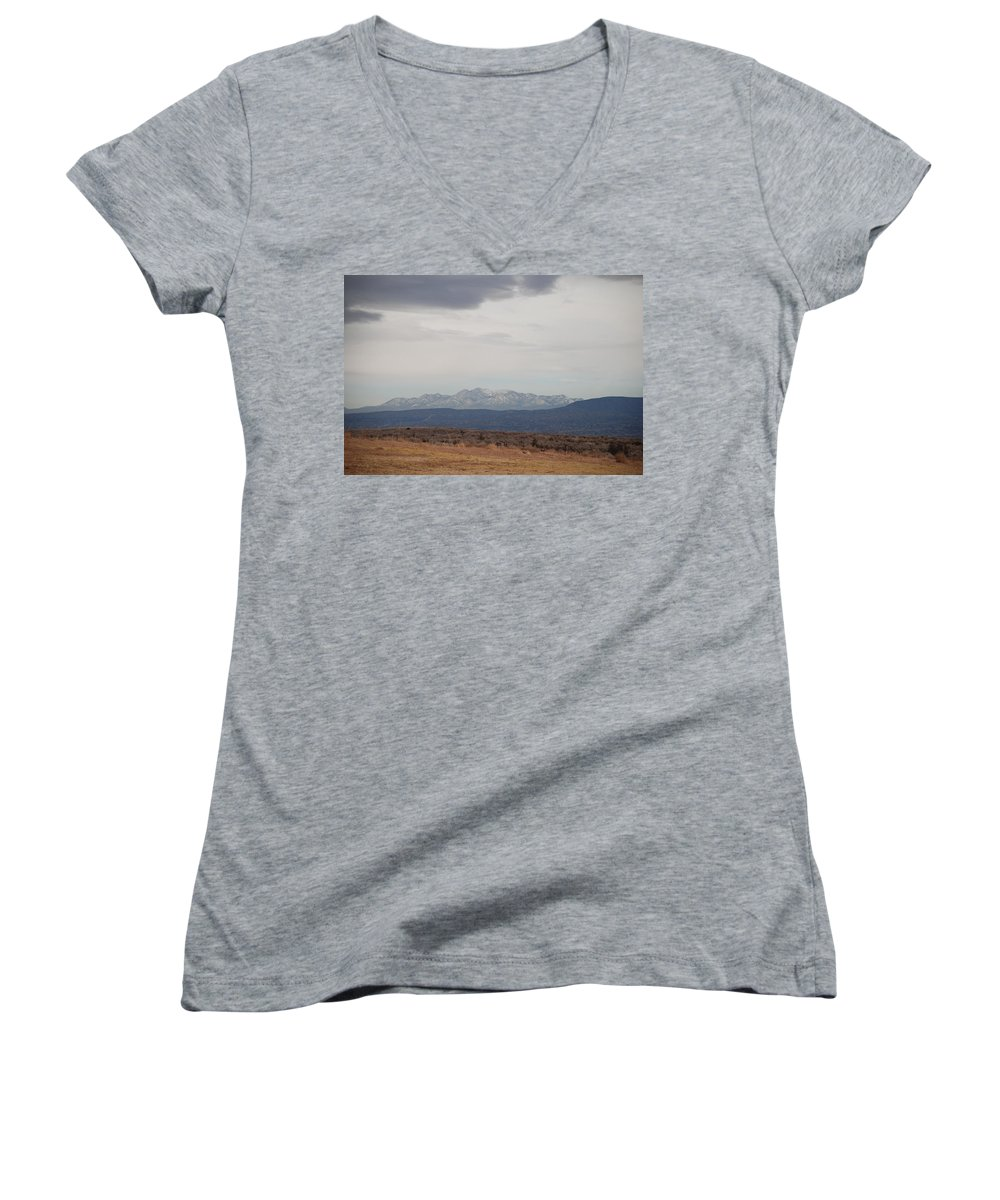 Mountains Women's V-Neck (Athletic Fit) featuring the photograph Overcast On The Sandias by Rob Hans