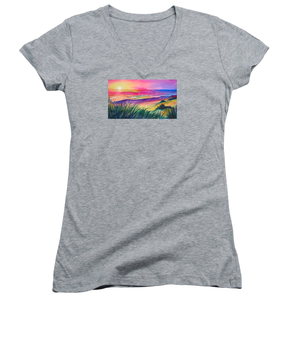 Pacific Women's V-Neck T-Shirt featuring the painting Pacific Evening by Karen Stark