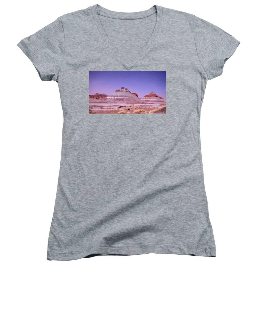 Painted Desert Women's V-Neck T-Shirt featuring the photograph Painted Desert Tepees by Merja Waters