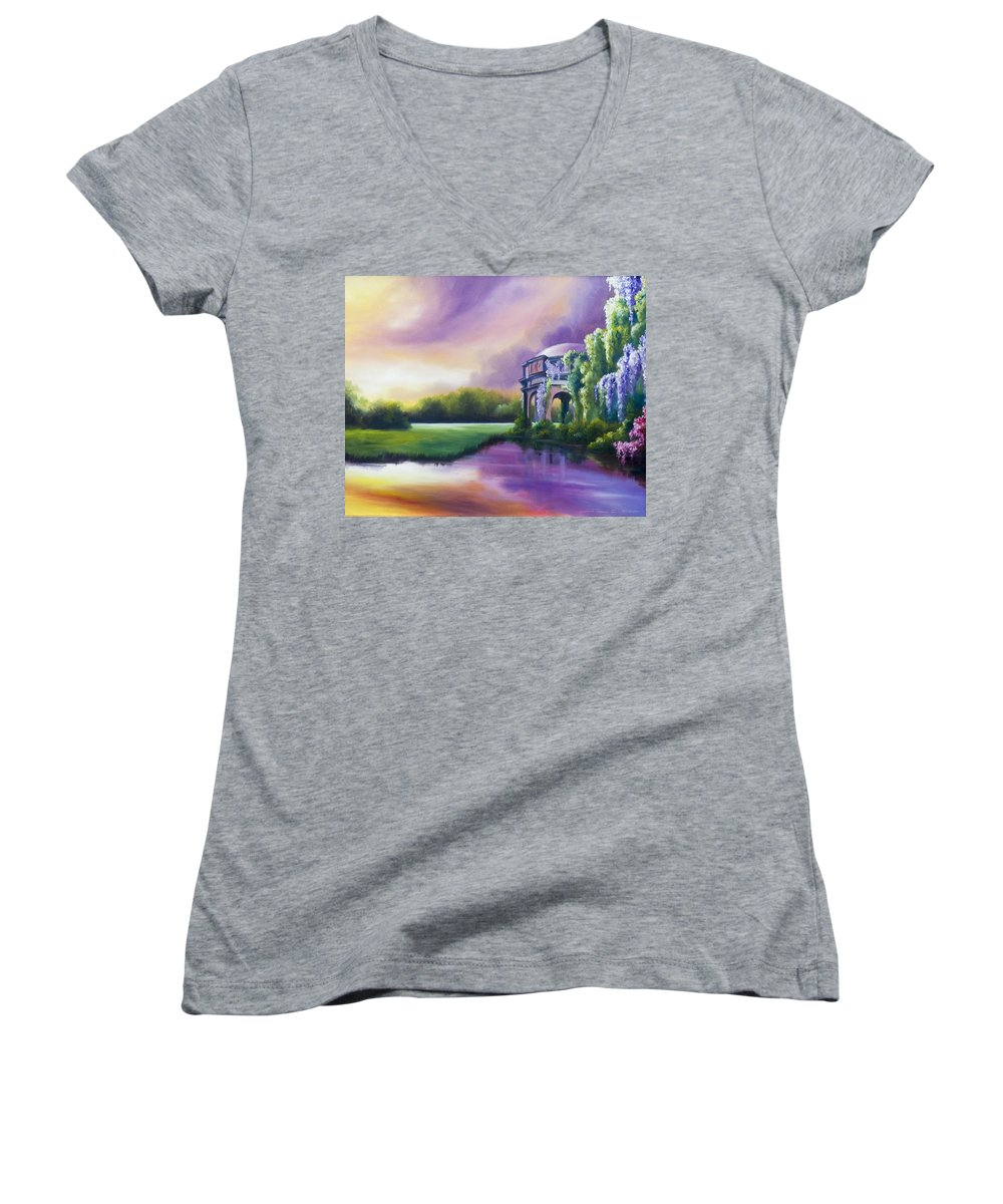 Marsh Women's V-Neck T-Shirt featuring the painting Palace Of The Arts by James Christopher Hill